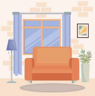 オレンジ色のソファのあるリビングルーム