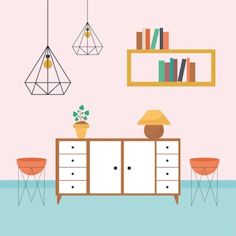 Living room with tables filled with books, one plant, flowers pots plus a chandeliers Premium Vector