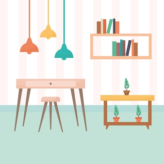 Living room with tables filled with books and plants plus a chandelier Premium Vector