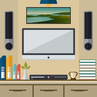 Living room with tv and dvd player vector illustration