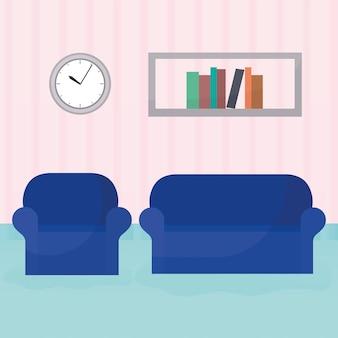 これらのイラストの後ろに2つの家具と市松模様の本棚と時計のあるリビングルーム