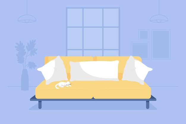 Living room with yellow couch 2d vector isolated illustration. sofa with cushions and pillows. modern furnishing. cosy apartment flat interior on cartoon background. home colourful scene