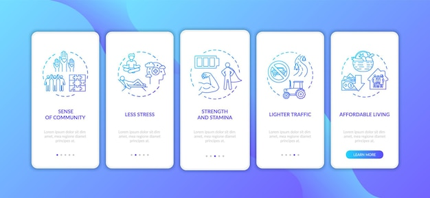 Living in suburbs onboarding mobile app page screen with concepts. countryside housing advantages walkthrough 5 steps graphic instructions. ui vector template with rgb color illustrations
