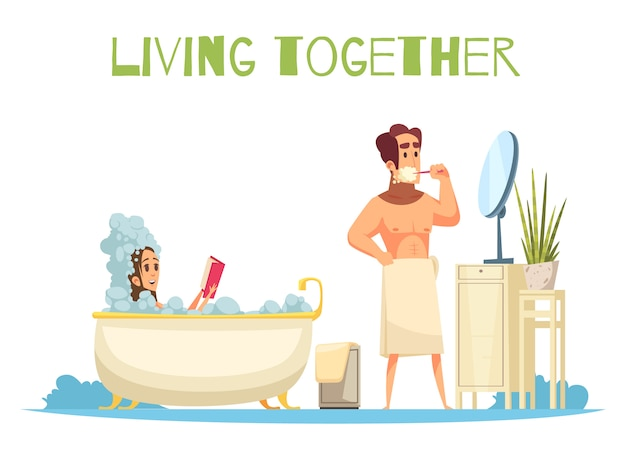 Living together concept with taking a bath symbols flat