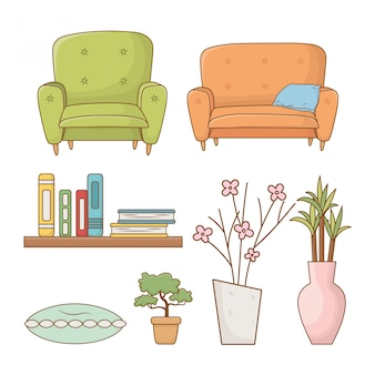 Livingroom set elements isolated icons