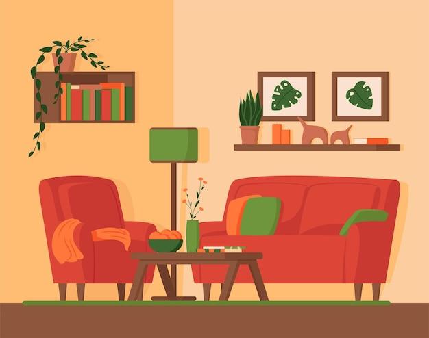 家具付きのリビングルーム、ラウンジルームの快適さ