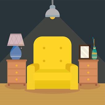 노란색 소파 장면이 있는 거실
