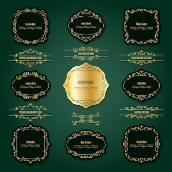 Lixury golden frames and dividers set.