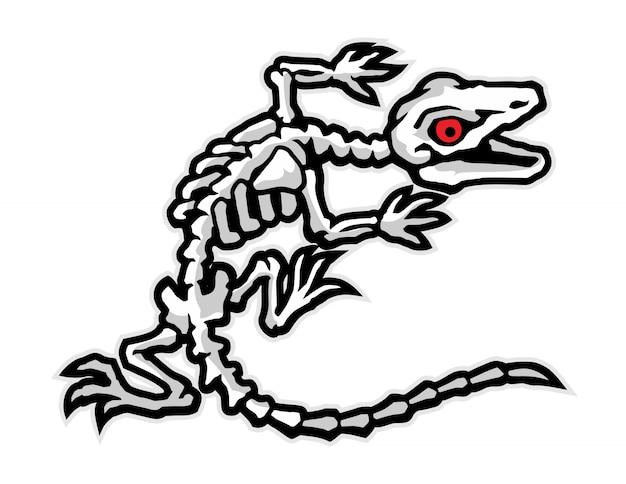 도마뱀 뼈 만화 벡터