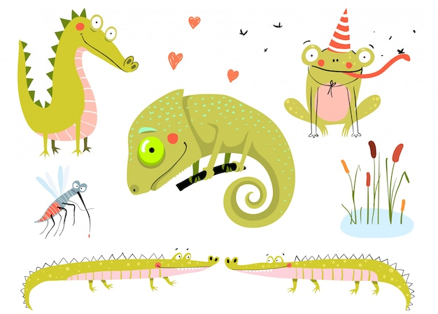 Lizard, frogs, alligators and crocodiles. swamp and lake doodle animals cartoon for kids.