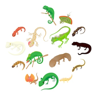 Lizard icons set, cartoon style