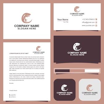 Lizard logo and business card premium vector