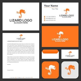 Ящерица логотип с визитной карточкой