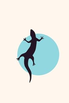 Ящерица раптор силуэт минималистский шаблон плаката в стиле бохо.