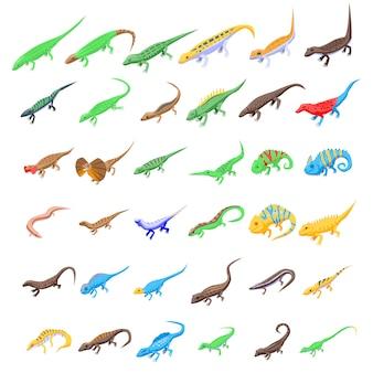 Lizard set, isometric style