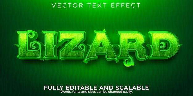 Текстовый эффект ящерицы, редактируемый стиль текста животных и хамелеонов