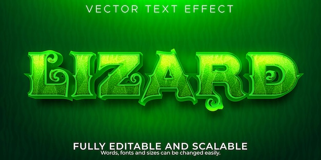 Lizard text effect, editable animal and chameleon text style