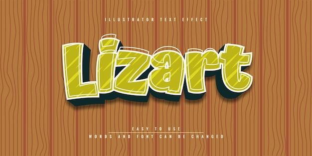 Lizart illustrator редактируемый дизайн шаблона с текстовым эффектом 3d