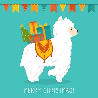 Llama or alpaca christmas greeting card
