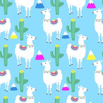 야마. 선인장. 선인장. 산. 재미있는 알파카 만화 캐릭터. 보육원, 직물 섬유 아동복을 위한 원활한 패턴