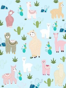 Llama and cactus clipart bundle, no drama llamas graphics set.