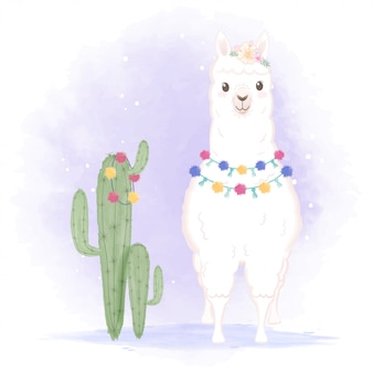 Llama and cactus hand drawn cartoon illustration