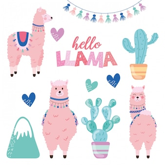 Llama and cactus set illustration