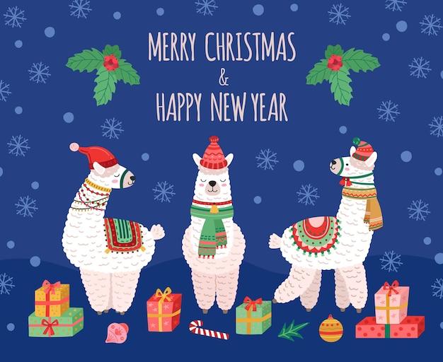 라마 크리스마스 배경입니다. 낙서 라마, 야생 아기 동물 휴가 카드. 양모 알파카는 산타 모자, 재미있는 겨울 크리스마스 벡터 포스터를 입습니다. 크리스마스 스카프와 모자 그림의 알파카와 라마