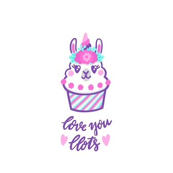 Llama cupcake with floral wreath and horn like unicorn inscription love you llots mean a lots