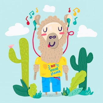 Llama in earphones flat cartoon character