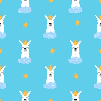 Llama in a golden crown and cloud seamless pattern. adorable alpaca. childish print for nursery, poster, t-shirt.