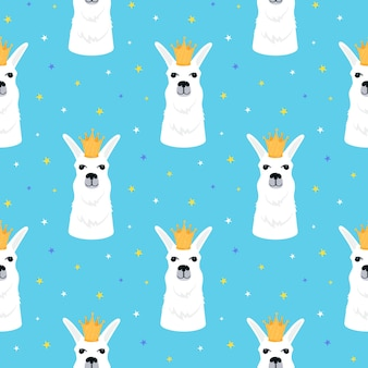 Llama in a golden crown seamless pattern. adorable alpaca. childish print for nursery, poster, t-shirt.