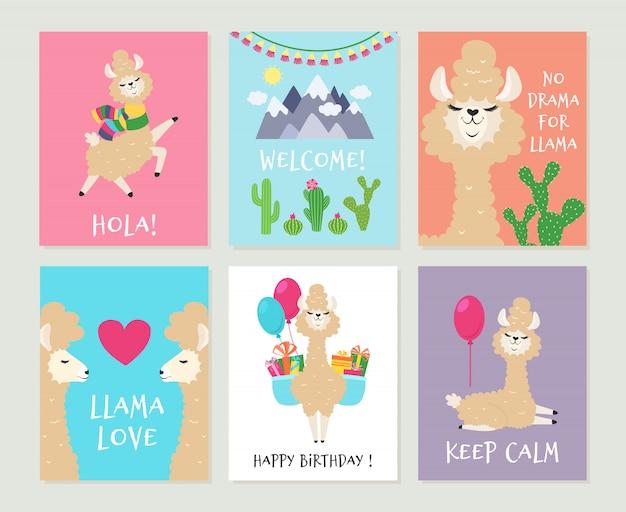 ラマの招待状。かわいいアルパカの誕生日グリーティングカード。漫画面白いピンクのラマ僧の女の子