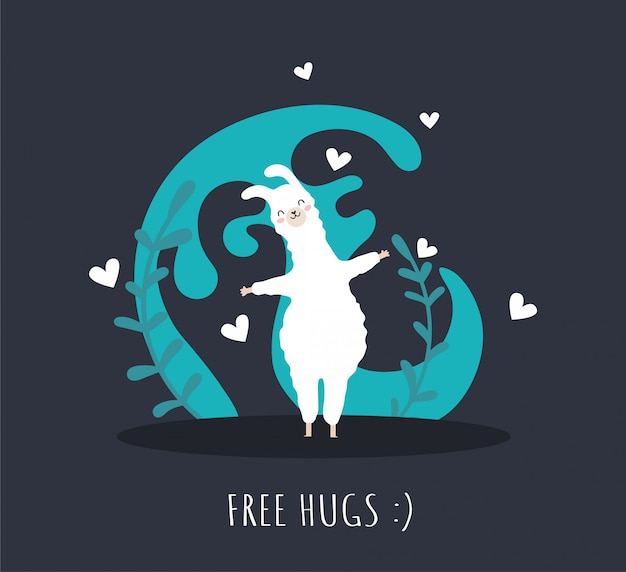 Llama in love with hearts  and many details. free hugs. cute alpaca.