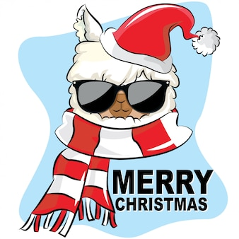Llama merry christmas with sunglasses hat and scarf