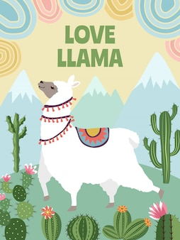 Llama, mountains and cactus