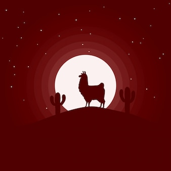 Llama in night landscape