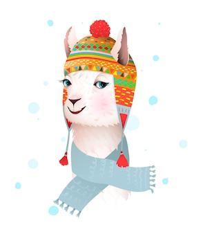 Лама или альпака в перуанской этнической вязанной шапке и шарфе, улыбаясь портрету. очаровательные иллюстрации животных для детей, мультфильм в стиле акварели.