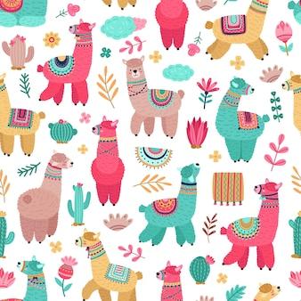라마 패턴입니다. 동물 그리기, 만화 라마 선인장 원활한 텍스처. 귀여운 아기 알파카 프린트, 창의적인 장식적인 여성스러운 벡터 배경. 알파카와 라마 원활한, 부드러운 재미있는 패턴 그림