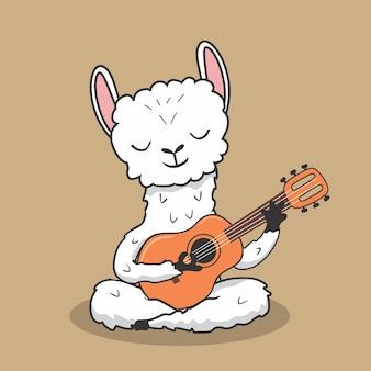 Llama playing guitar music cartoon alpaca