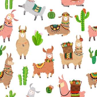 ラマのシームレスなパターン。赤ちゃんラマかわいいアルパカとサボテンの野生のラマ。