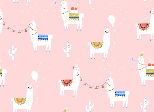 Llama seamless pattern birthday party with cartoon alpacas baloons and gifts kids pink background