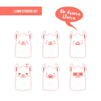 Llama stickers set