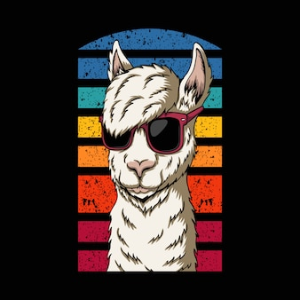 Llama wearing eyeglasses retro illustration