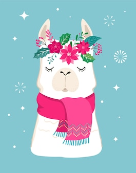 Llama winter , cute  for nursery, poster, merry christmas, birthday greeting card