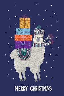 Llama with gifts