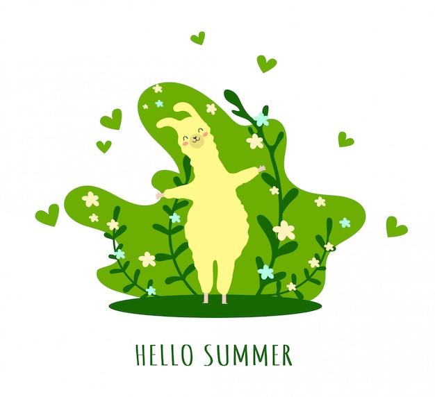 마음과 많은 세부 사항이있는 라마. 재미있는 알파카. 안녕하세요 여름.