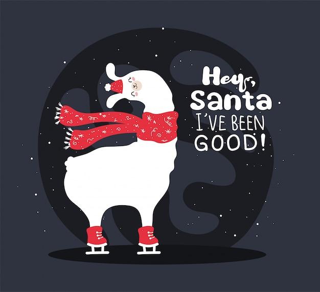 雪と多くの詳細を持つラマ。面白いアルパカ鹿。サンタさん、私は元気です。