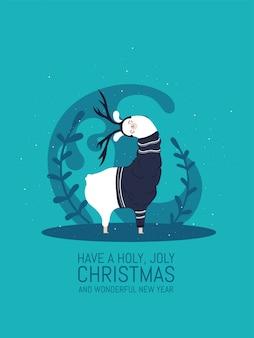 雪と多くの詳細を持つラマ。面白いアルパカ。聖なる聖なるクリスマスと素晴らしい新年をお迎えください。