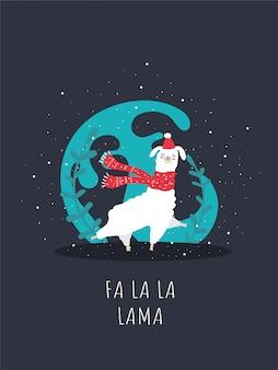Llama with snow and many details. funny alpaca  deer. fa la la lama.